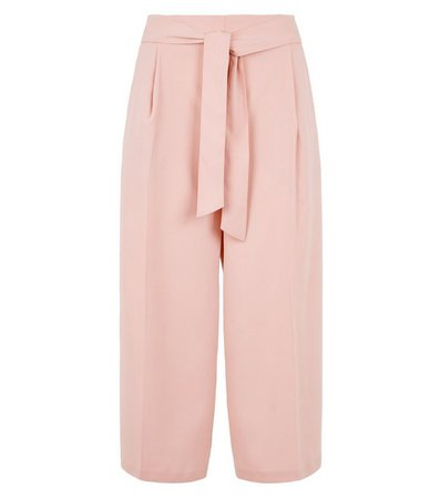 Petite Pale Pink Tie Waist Crop Trousers | New Look