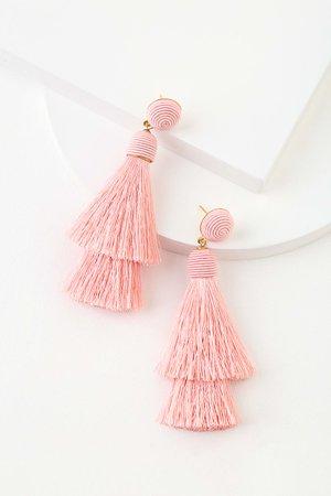 Lulus Earrings - Light PinkTassel Earrings - Boho Tassel Earrings