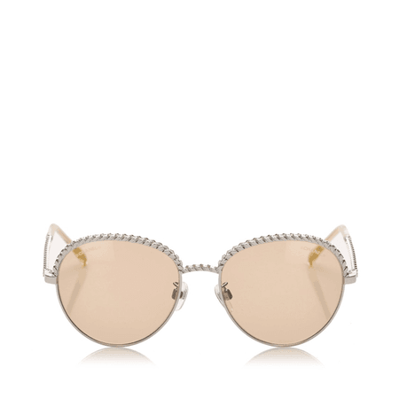 Chanel Round Tinted Sunglasses In Neutrals | ModeSens