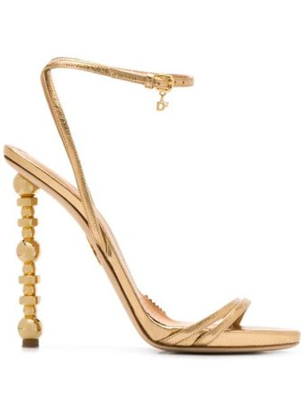 Shop gold Dsquared2 Feng sculpted-heel sandals with Express Delivery - Farfetch