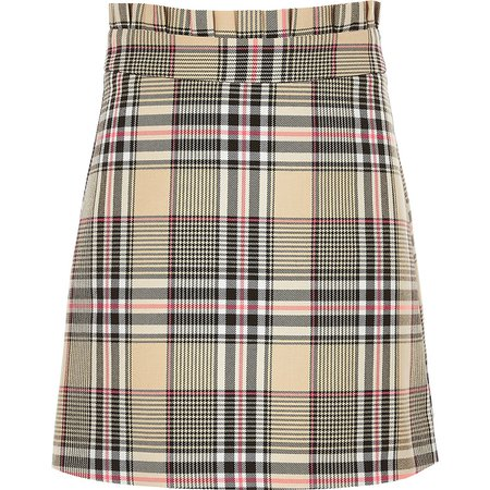 Girls beige check A line skirt | River Island