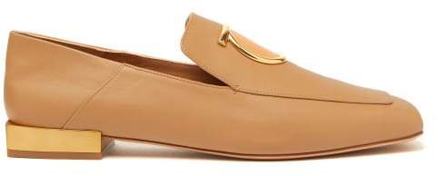 Lana Gancini Plaque Leather Loafers - Womens - Camel
