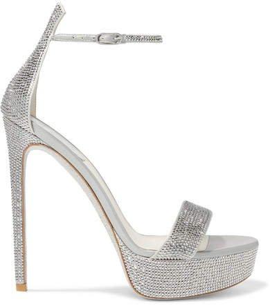 Celebrita Crystal-embellished Satin Platform Sandals - Silver