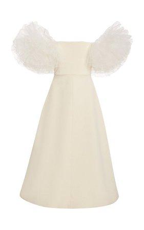 Tulle-Sleeve Crepe Midi Dress By Giambattista Valli | Moda Operandi