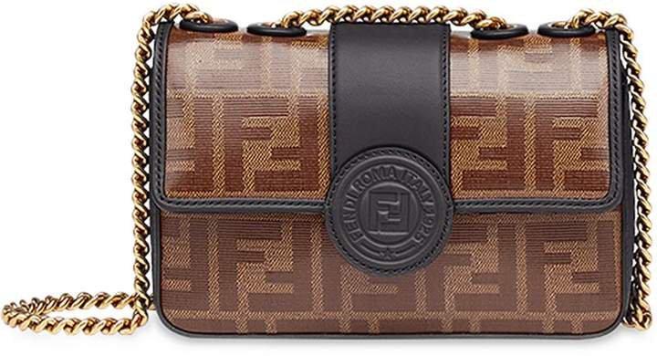 brown Double F logo print leather cross body bag