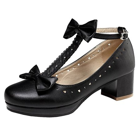 getmorebeauty Women's Lolita Shoes Vintage Sweet T-Straps Bows Mary Janes Shoes