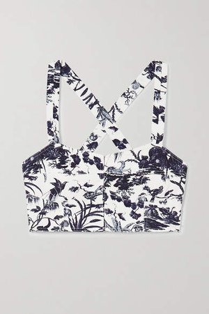 Abril Printed Cotton-twill Bustier Top - Blue
