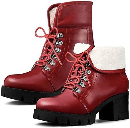 Amazon.com | Allegra K Women's Platform Combat Chunky Heel Ankle Boots | Ankle & Bootie