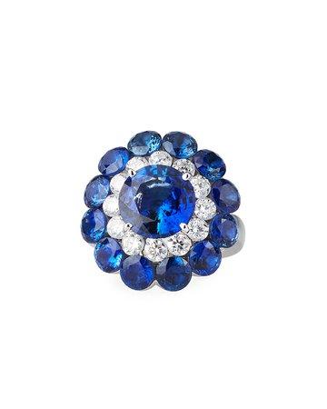 Chopard 18k White Gold Sapphire Magical Setting Ring w/ Diamonds