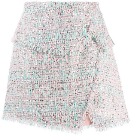 raw-trimmed tweed skirt