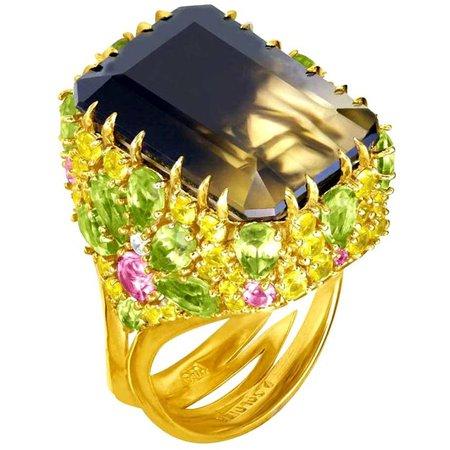 Alex Soldier Lemon Smoky Quartz, Peridot, Topaz, Sapphire, and Diamond Blossom Gold Ring