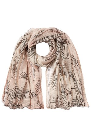 Printed Cotton Scarf with Silk Gr. One Size