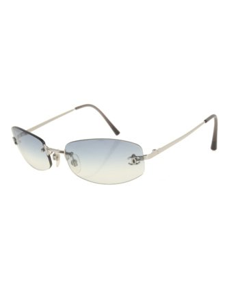 designer vintage sunglasses frames frameless Chanel blue grey silver
