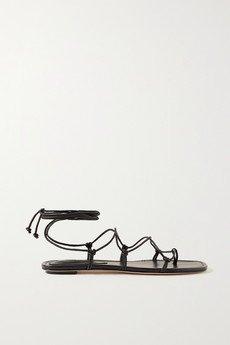 flat black strappy sandals