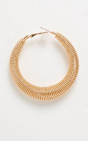 Gold Spring Hoop Earrings | PrettyLittleThing USA