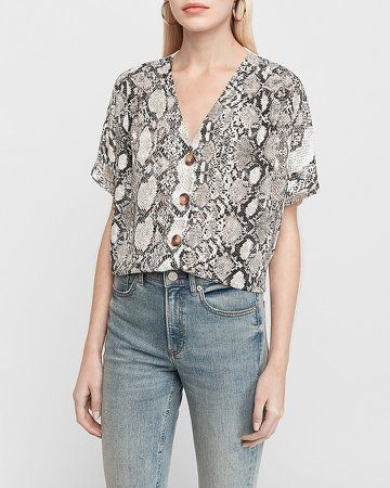 Printed Button Front Dolman Sleeve Tee