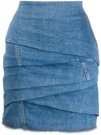 Philosophy Di Lorenzo Serafini draped denim skirt with Express Delivery - Farfetch