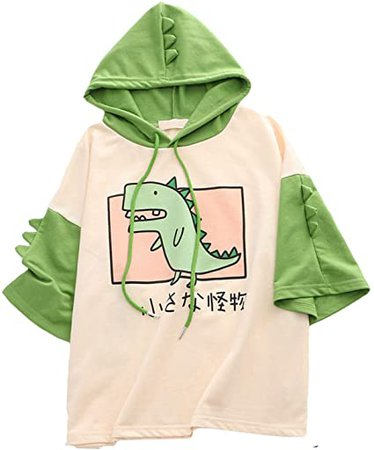 Amazon.com: CRB Fashion Womens Teens Animal Anime Cute Emo Dinosaur Cosplay Cartoon Shirt Hoodie Hoody Top Jumper Sweater (Green SS): Clothing