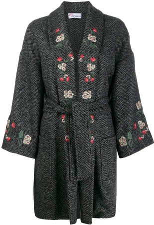 floral-embroidered coat coat