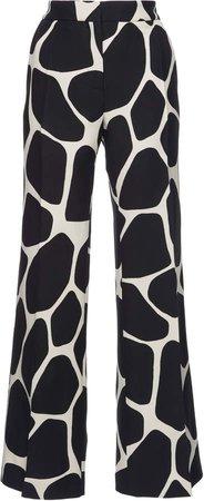 Printed Wool And Silk-Blend Wide-Leg Pants