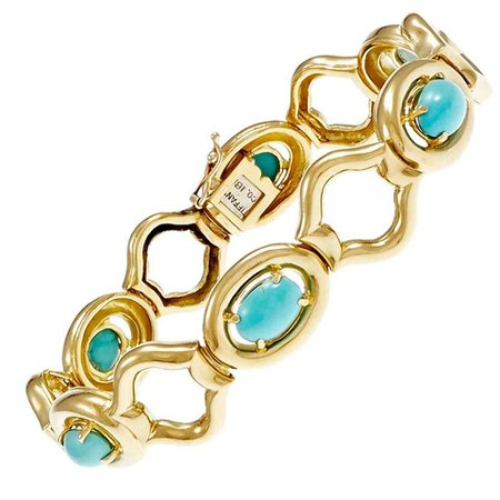 1960 Tiffany and Co. GIA Cert Natural Turquoise Gold Link Bracelet For Sale at 1stDibs