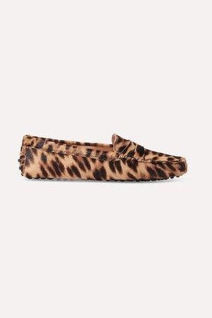 Gommino Leopard-print Calf Hair Loafers - Brown
