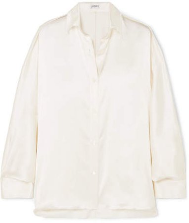 Oversized Frayed Satin Shirt - White