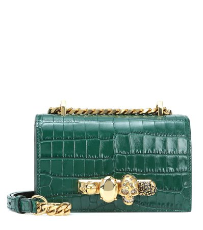 Jeweled Satchel Mini Croc-Effect Crossbody Bag - Alexander McQueen | Mytheresa
