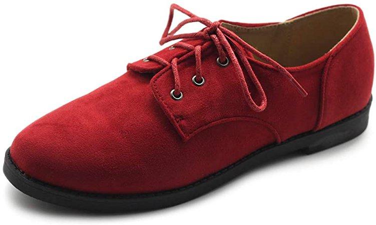 Amazon.com | Ollio Women Classic Flat Shoe Lace Up Faux Suede Oxford ZM2910(9 B(M) US, Black) | Oxfords