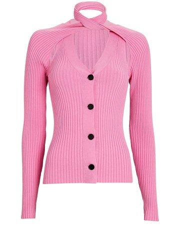 Wynn Hamlyn Loop Neck Rib Knit Cardigan   INTERMIX®