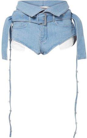 Marques' Almeida - Belted Fold-over Denim Shorts - Sky blue