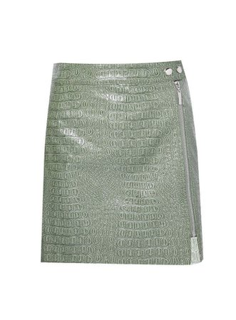 **Lola Skye Green PU Zip Skirt | Dorothy Perkins