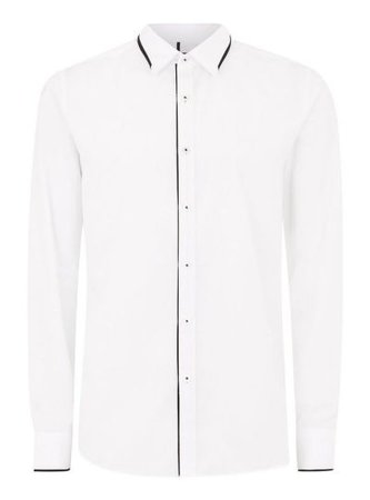 Topman: White And Black Trim Collar Long Sleeve Shirt