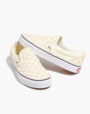 Vans Unisex Classic Slip-On Sneakers in White Canvas