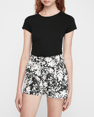 Floral High Waisted Belted Shorts