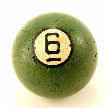 Vintage / Antique Clay Billiard Ball Green Number 6, Art Deco Pool Bal – ThirdShiftVintage.com