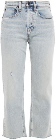 Maya Cropped Distressed High-rise Straight-leg Jeans