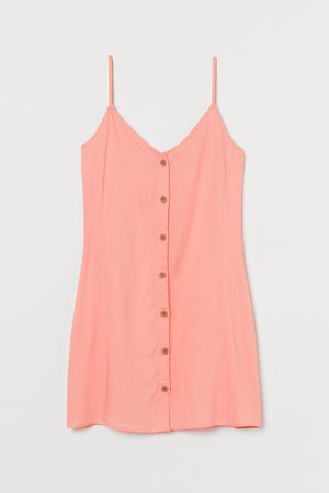 Button-front Dress - Orange