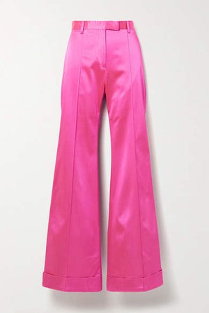 Satin-crepe Flared Pants - Fuchsia