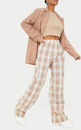 Stone Check Wide Leg Cargo Trousers   PrettyLittleThing USA