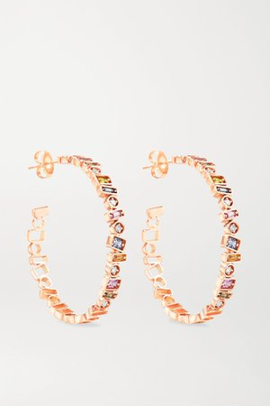 Rose gold 18-karat rose gold, sapphire and diamond hoop earrings | Suzanne Kalan | NET-A-PORTER