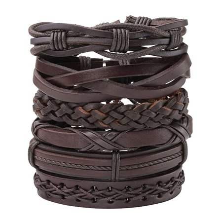 Amazon.com: MILAKOO Men's Womens Braided Leather Rope Woven Wrap Link Cuff Bracelet, Fit 7-8.5 inch Wrist...: Jewelry