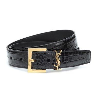 Monogram leather belt