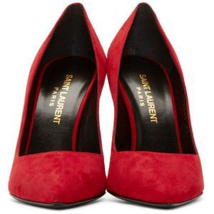 Saint Laurent Red Suede Paris Pumps