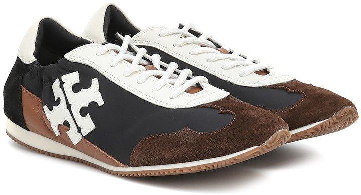 Vintage suede-trimmed sneakers