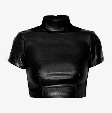 Black Leather Crop Turtleneck Top