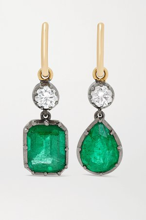 Gold Gypset 18-karat yellow and blackened white gold, emerald and diamond hoop earrings   Jessica McCormack   NET-A-PORTER