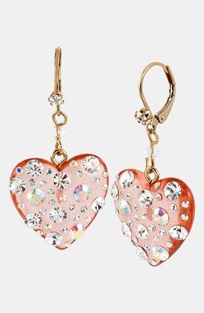 Betsey Johnson Crystal Heart Drop Earrings | Nordstrom
