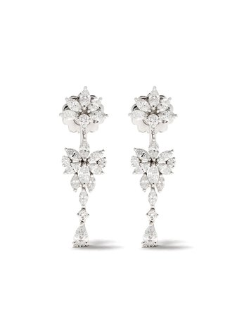 Yeprem 18kt White Gold Diamond Drop Earrings - Farfetch