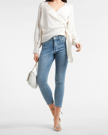 Mid Rise Knit Cropped Skinny Jeans